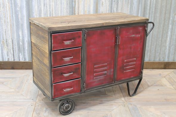 Red Industrial Metal Cupboard