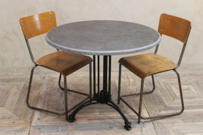 cafe table with vintage chairs