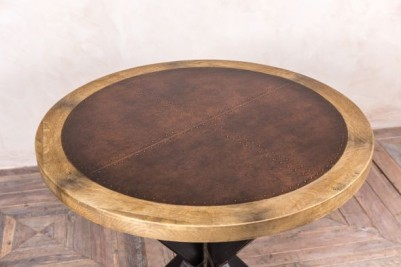copper and wood pedestal table