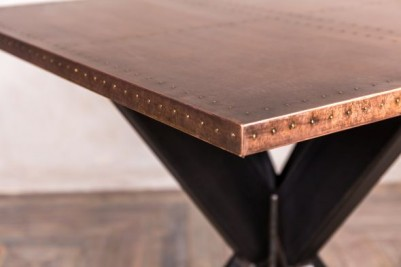 copper top table with metal base