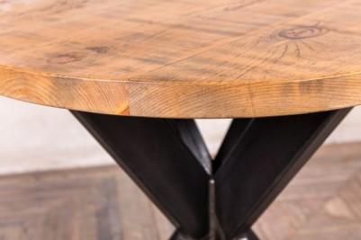 metal base table with round pine top