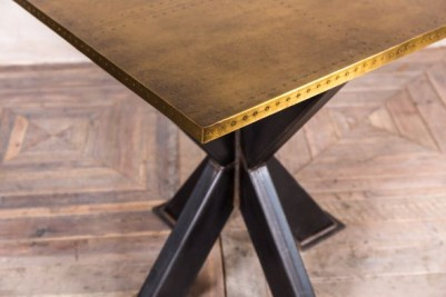 metal dining table with brass top