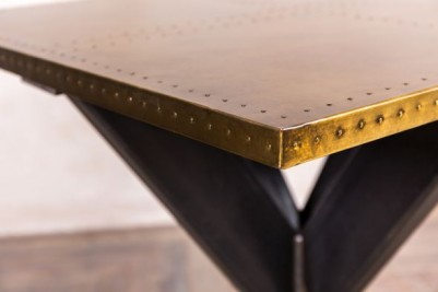 metal pedestal table with brass top
