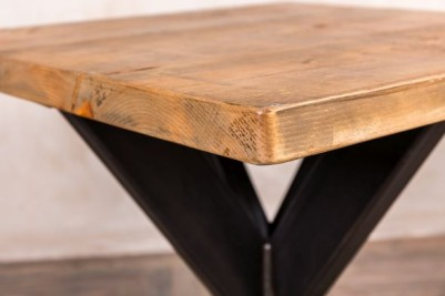 metal pedestal table with pine top