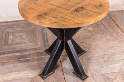 metal pedestal table with round pine top