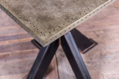 metal pedestal table with zinc top