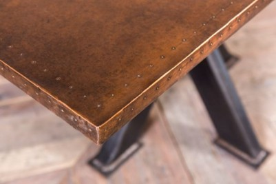 tank trap table with copper top