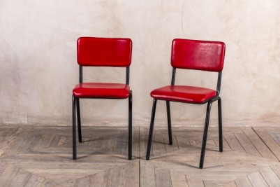 vintage style red leather stacking chair