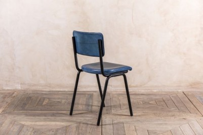 blue leather stacking chairs