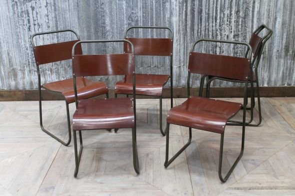 Burgundy Retro Metal Chairs