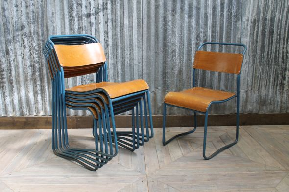 Blue Vintage Plywood Chairs