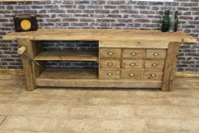 rustic reclaimed sideboard with vice