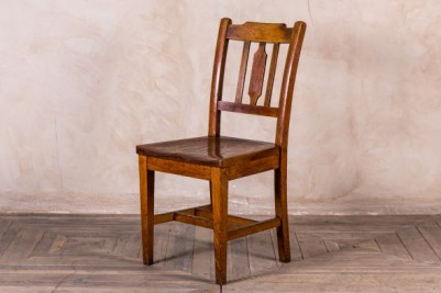 - ANTIQUE CARVED SCHOOL CHAIR ENGRAVED CHURCH