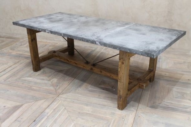 ZINC DINING ROOM TABLE INDUSTRIAL STYLE PINE BASE