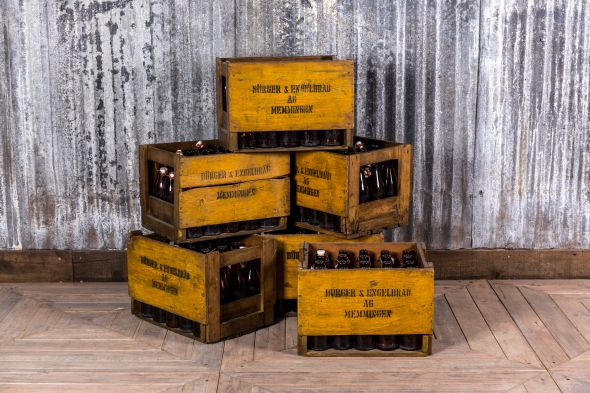 Yellow Old Bottle Crates