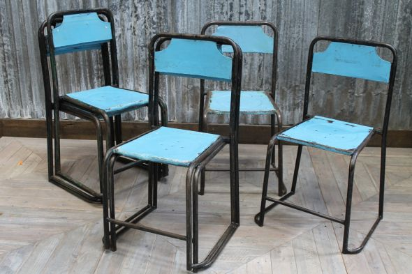 Blue Stackable Metal Chairs