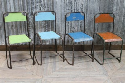 vintage blue steel chairs