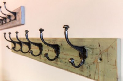 distressed painted wall coat rack