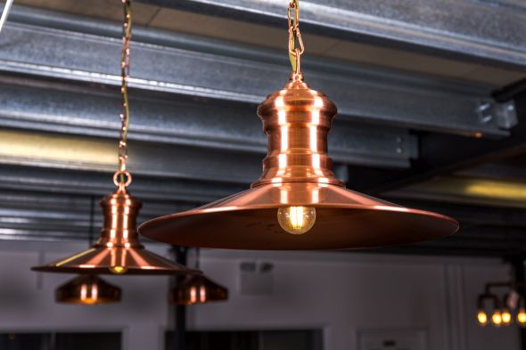 Copper Coloured Flat Pendant Light