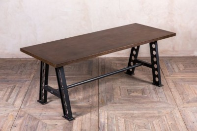 large copper top dining table