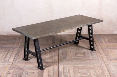 large metal dining table