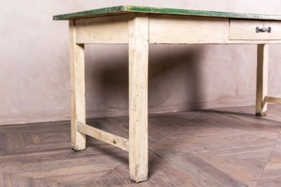 wooden table with green painted top