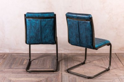 aged blue leather look chair