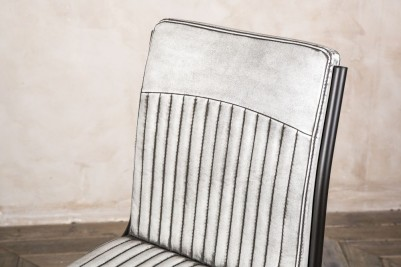 aged white leather look dining chair