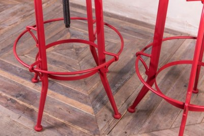 red metal bar stools