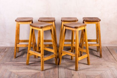VINTAGE WOODEN LAB STOOL BREAKFAST BAR SCIENCE STOOLS