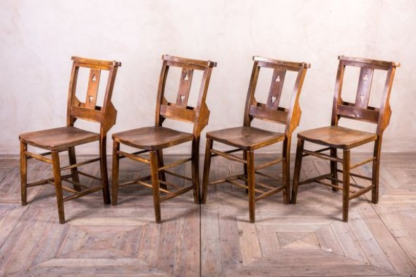 Wooden Church Chairs with Cloverleaf Design