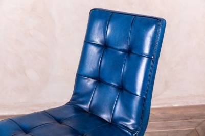 slim blue leather chairs