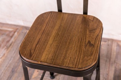 metal stool with wooden seat