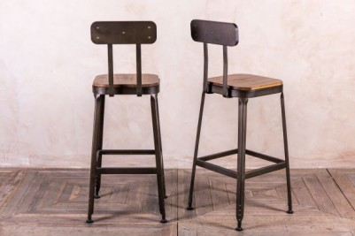 metal stool wooden seat