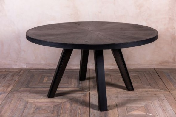 Athens 1.5m Oak Round Dining Table in Espresso