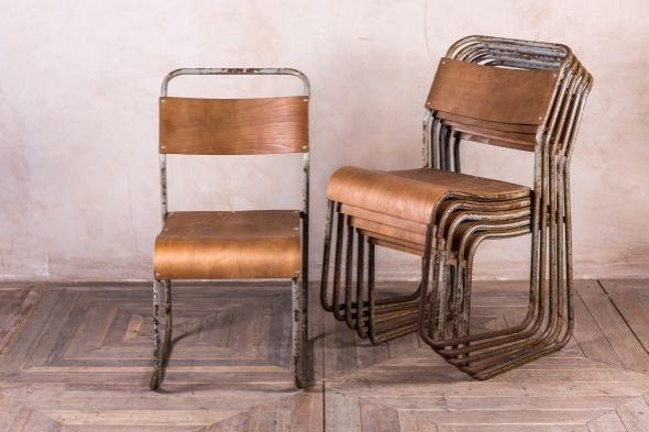 Vintage Grey Stacking Chairs
