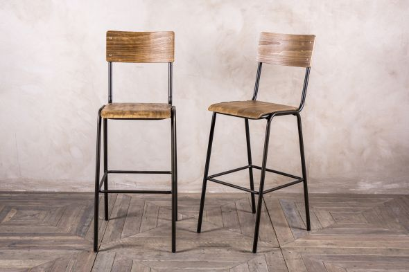 Battersea Vintage School Style Stool - Black