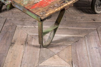 old industrial trolley table