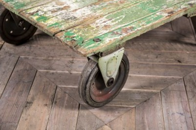 wheeled industrial coffee table