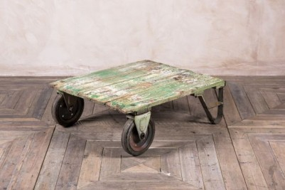 wheeled painted trolley table