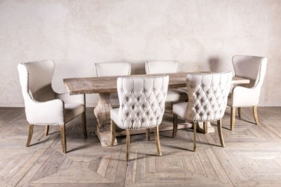 French inspired upholstered dining chair set
