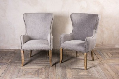 French inspired upholstered dining chairs