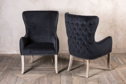 smoky black button back chair