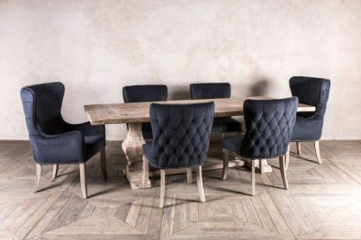 smoky black velvet dining chair set