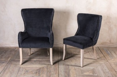 smoky black velvet dining chairs