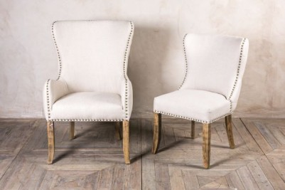 almond linen dining chairs
