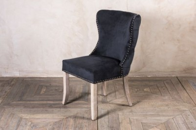 smoky black velvet side chair