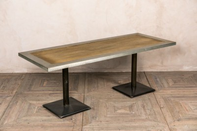 zinc and wood top table