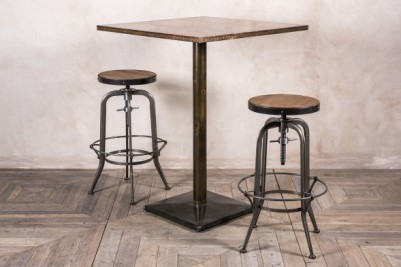 copper top high pedestal table