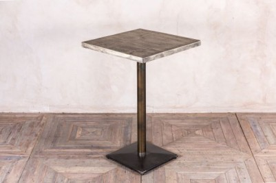 metal pedestal table with oiled top